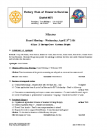 Rotary Board Minutes -April 20  2016