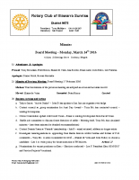 Rotary Board Minutes -March, 14 2016