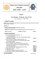 Rotary Board Minutes -june 15 2016
